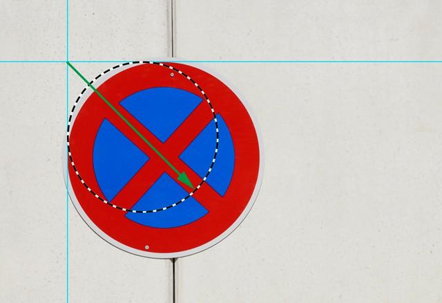 Bild 4 - Aufziehen der Auswahl aus dem Schnittpunkt der Tangenten-Hilfslinien heraus