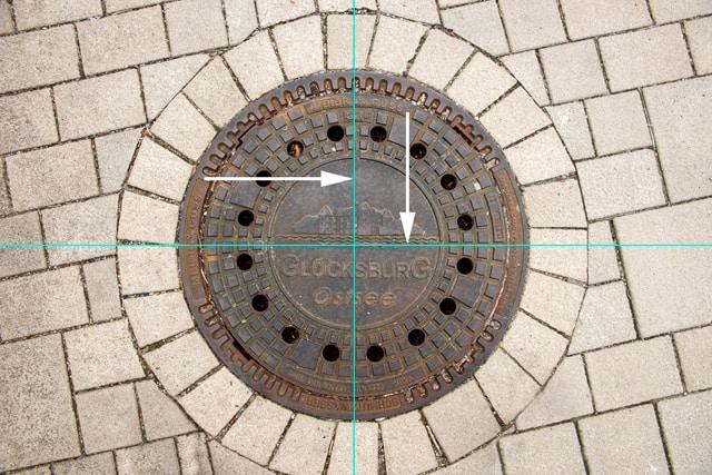 Bild 7 - Hilfslinien in den Mittelpunkt des Kreises ziehen