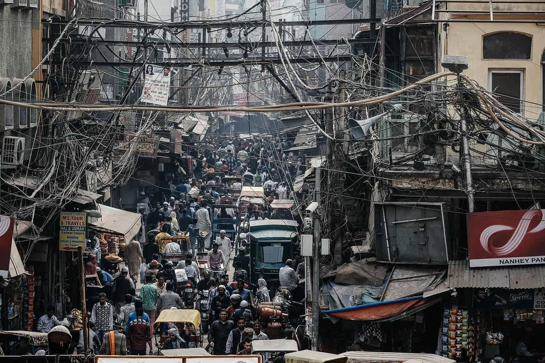 Viel Verkehr in Old Dehli