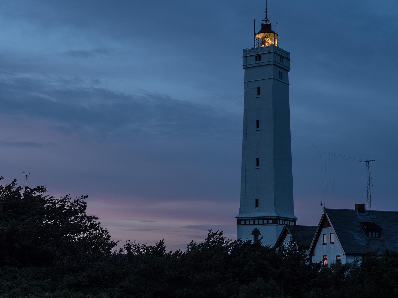 Blavand, Leuchtturm, Abend