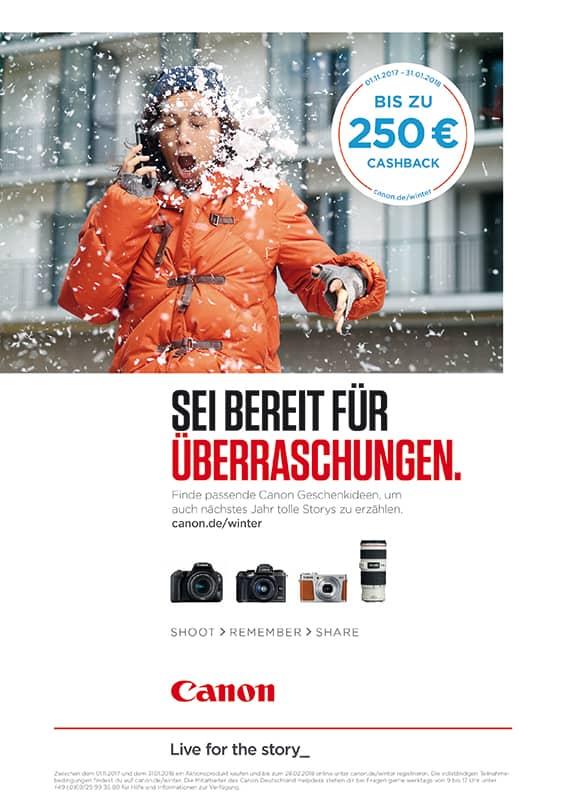 Canon Cashback-Anzeige