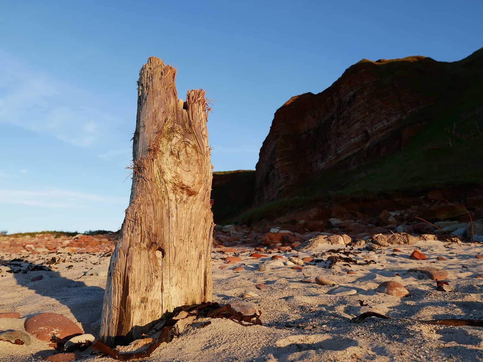 Alter Holzpfosten auf Helgoland