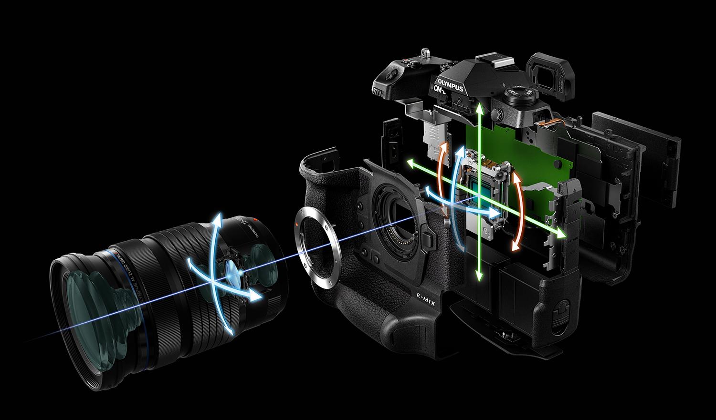 """In diesem Jahr feiert Olympus den 10. Geburtstag seiner spiegellosen Systemkameras (die PEN E-P1 wurde im Juli 2019 vorgestellt). Das Jubiläumsjahr beginnt mit der Präsentation der OM-D E-M1X. Die Olympus OM-D E-M1 Mark II ist nun seit zwei Jahren auf dem Markt (damals wurden auch die M.Zuiko PRO Objektive vorgestellt) und ist immer noch eine hervorragende Kamera für anspruchsvolle Amateure und Profis. Nun erfolgt der nächste Schritt im Profi-Sektor mit der OM-D E-M1X. Der Anspruch, im Profi-Segment eine wichtige Rolle zu spielen, zeigt sich schon am Gehäuse, das nun einen integrierten Hochformat-Akku-Griff aufweist. Dadurch wirkt die OM-D E-M1X zwar groß, aber eine E-M1 Mark II mit angesetztem Griff ist auch nicht wesentlich kleiner. Die Abmessungen für die OM-D E-M1X liegen bei rund 145 x 147 x 76 mm (B x H x T), das Gewicht bei rund 980 g inkl. 2 Akkus und 2 SD-Karten). Der Griff bietet durch den zusätzlichen Akku zum einen mehr Power und zum anderen Komfort bei Hochformataufnahmen, da die Bedienelemente auf dem Griff und rechts oben auf der Rückwand des """"Grundgehäuses"""" hier noch einmal zu finden sind. Damit man nach einem Formatwechsel nichts versehentlich verstellt, können die Einstellelemente gesamt oder gezielt gesperrt werden. Um beim Gehäuse zu bleiben: Olympus spricht vom weltbesten gegen Staub, Spritzwasser und Frost geschützten Gehäuse – und wenn ein Testgerät schnell genug in der Redaktion ist, kann letzteres vielleicht sogar getestet werden. Beim Anschluss eines Fernbedienungskabels, eines Mikrofons oder Kopfhörers ändert sich an der Wetterfestigkeit übrigens nichts. Schon der Sucher der OM-D E-M1 Mark II ist mit einer Vergrößerung von 0,74x [@KB] lobenswert groß – der Sucher der OM-D E-M1X legt noch eine Schippe drauf und überbietet mit 0,83x sogar Vollformatkameras wie die neuen Geschwistermodelle Nikon Z 6 / Z 7 (0,8x). Staubschutz für den Sensor gab es schon bei den digitalen DSLR-Kameras von Olympus und natürlich auch bei den neuen DSLM-Modellen. """